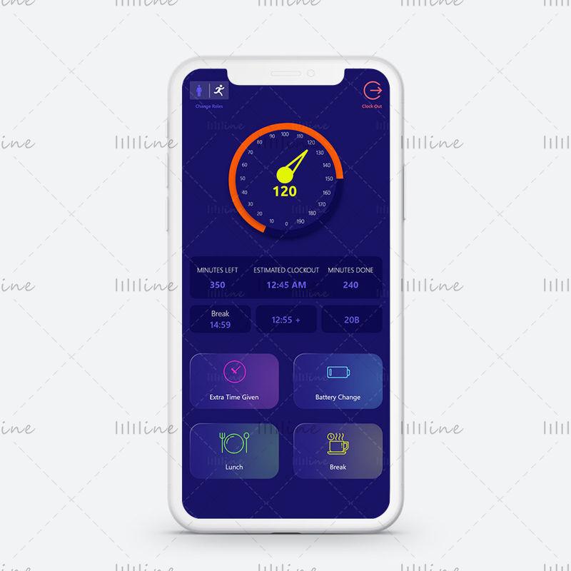 Écran de l'application du compteur de vitesse avec le concept de boutons vitreux