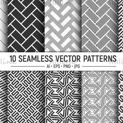 10 бесшовных кирпичей, полосатые векторные узоры
