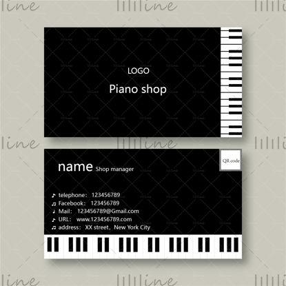 وکتور کارت ویزیت فروشگاه پیانو