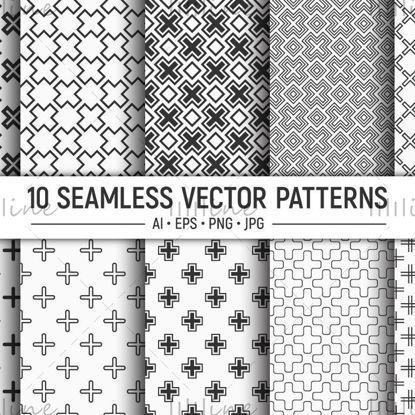 10 бесшовных крестов векторных узоров