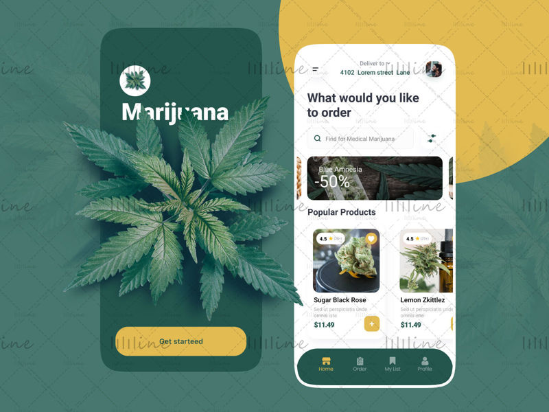 Diseño de la aplicación de marihuana medicinal UI UX