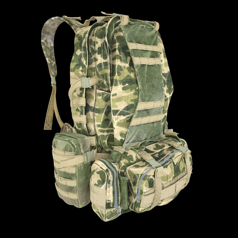 Военный камуфляжный рюкзак 3d модель