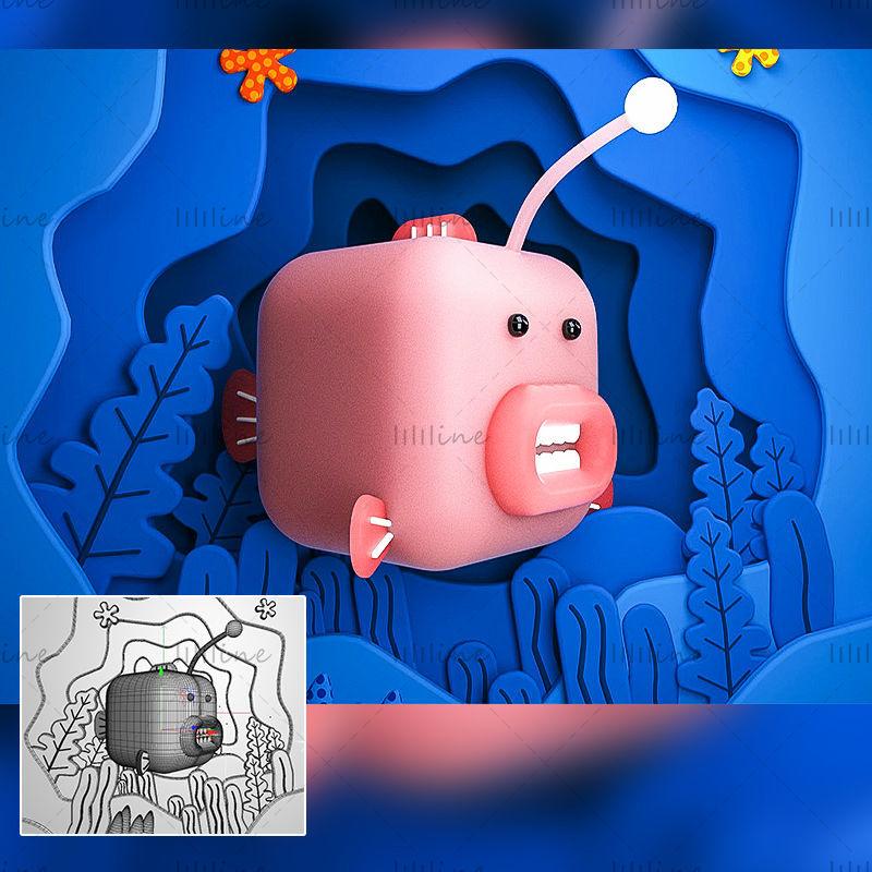 C4D синий розовый мультфильм форма рыбы 3d креативная модель сцена