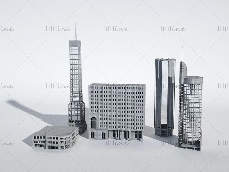 Архитектура здания c4d модель 3d креативная сцена