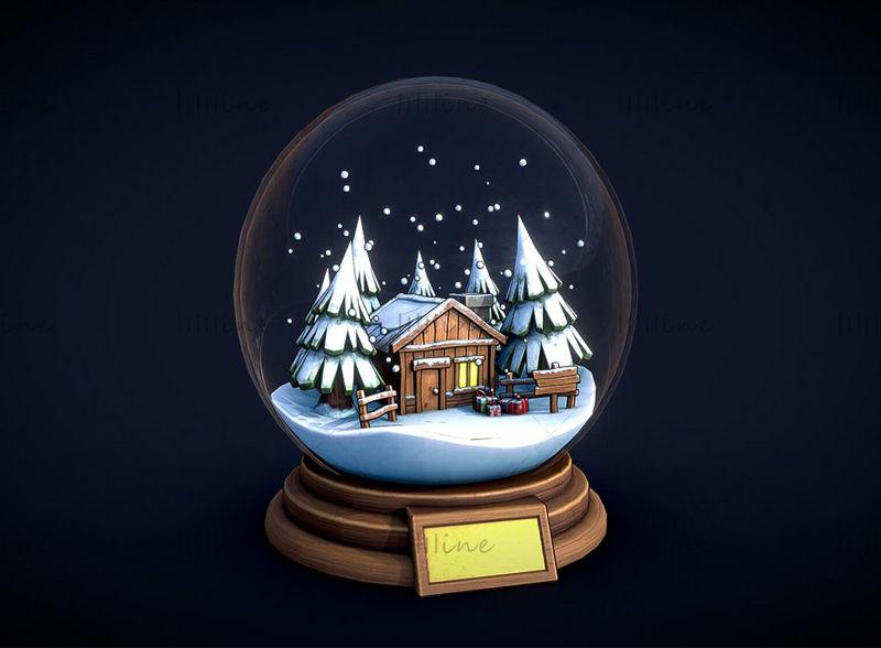 Мультяшный рождественский хрустальный шар c4d 3d модель