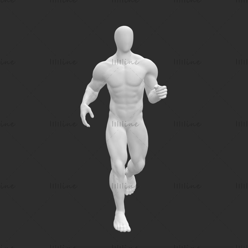 Супер мускулистый бегун мужской манекен 3d модель печати