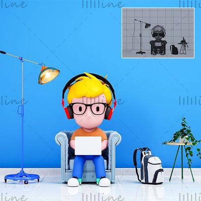 漫画プログラマーの3DクリエイティブIP画像モデル