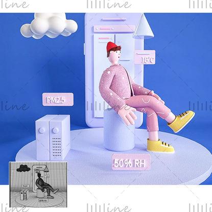 漫画の携帯電話天気トレンディな男性のIP画像