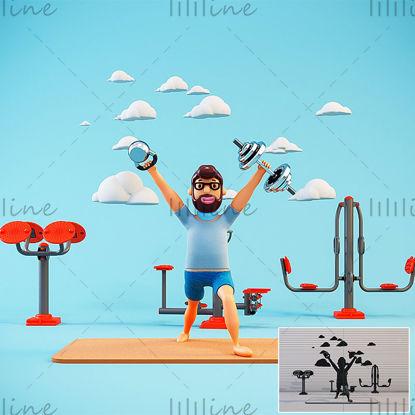漫画アウトドアスポーツフィットネスIP画像3Dモデル