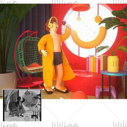 3Dクリエイティブシーンモデルを歌う漫画のホームスタイル
