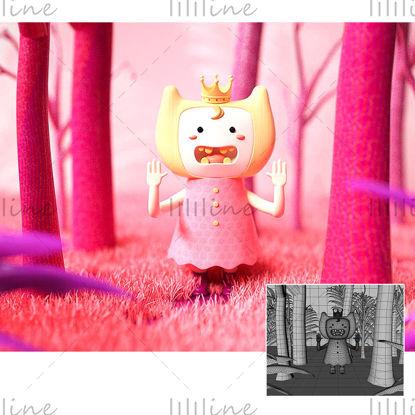 ピンクの漫画の王女の3Dモデル