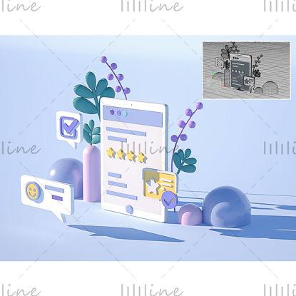 C4D携帯電話プラントUIアイコン3Dモデル