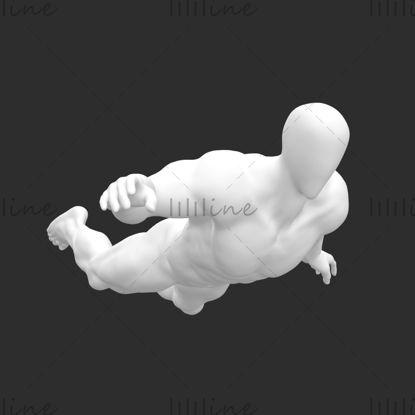 Duikende mannelijke etalagepop supersterke spierduiker 3D-afdrukmodel