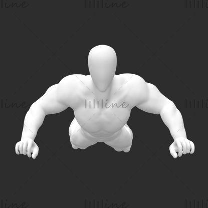 Supersterke spier deltavliegende mannelijke etalagepop 3d print model
