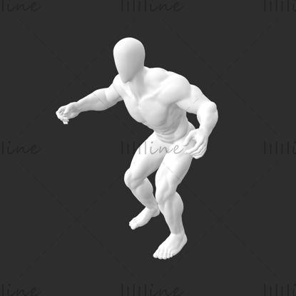 Supersterk spierskiën Mannelijke Mannequin 3D-afdrukmodel