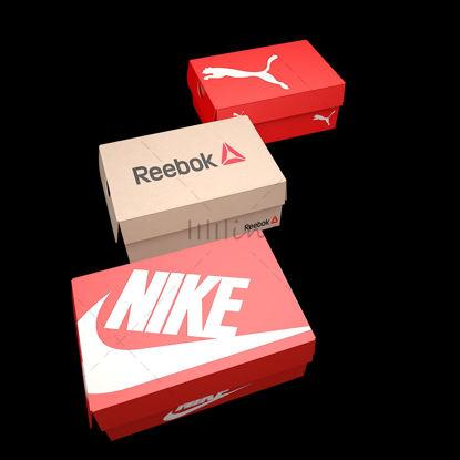 PUMA, NIKE, REEBOK Shoebox 3D Модель