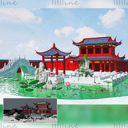 C4D китайский античный стиль внутренний двор павильон здание 3d креативная сцена модель
