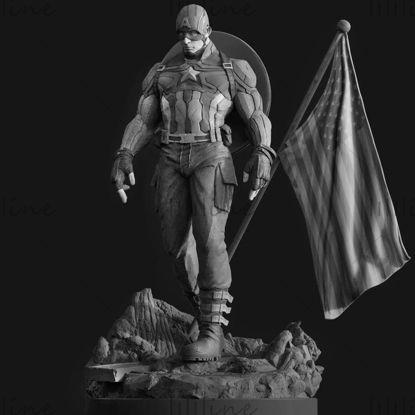 Captain America Statue 3D modello STL per la stampa 3D