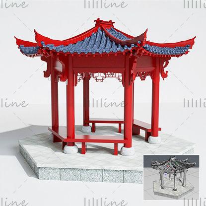 Красный античный китайский стиль павильон здание 3d модель сцена