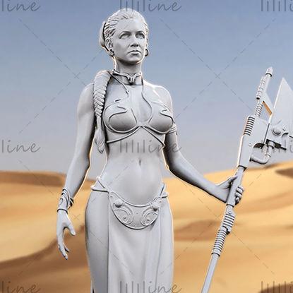 Modello 3D della statua della principessa Leia per il router CNC di stampa 3D intagliato