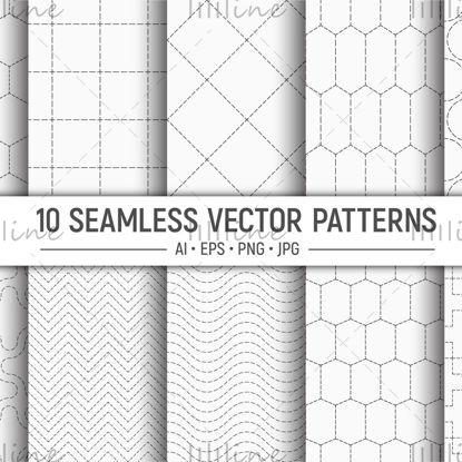 10 бесшовные векторные узоры с пунктирными фигурами