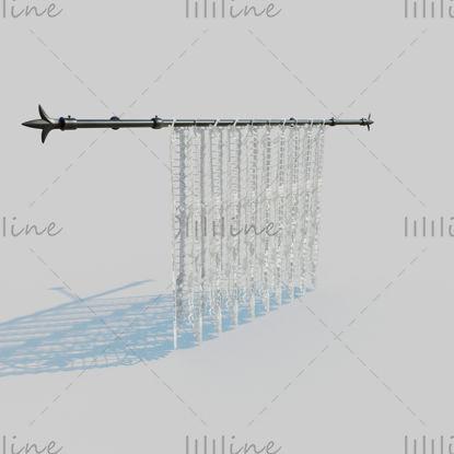 Кружевной занавес со стержнем 3D Модель