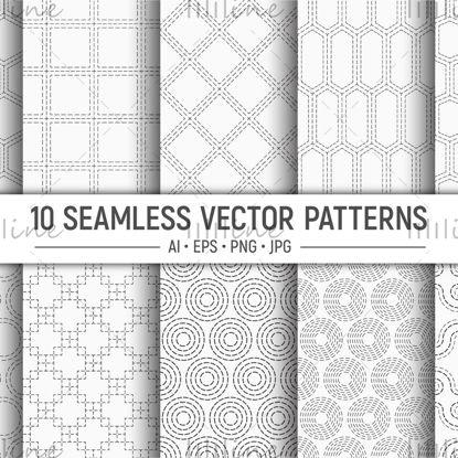 10 أشكال منقطة أنماط هندسية سلسة