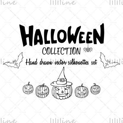 Kézzel rajzolt Halloween sziluettek illusztrációk