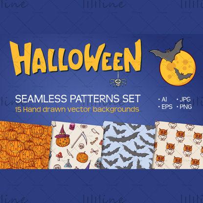 15 zökkenőmentes Halloween vektoros minta
