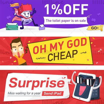 Kézzel rajzolt stílusú e-kereskedelmi poszter banner