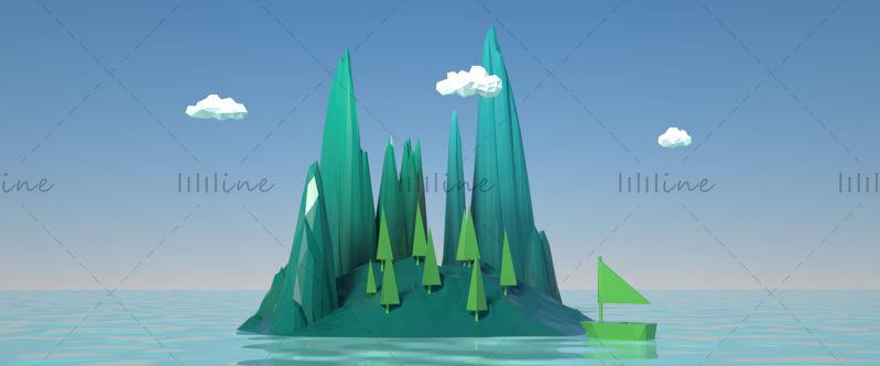 Modelo de polígono bajo islas pequeñas montaña