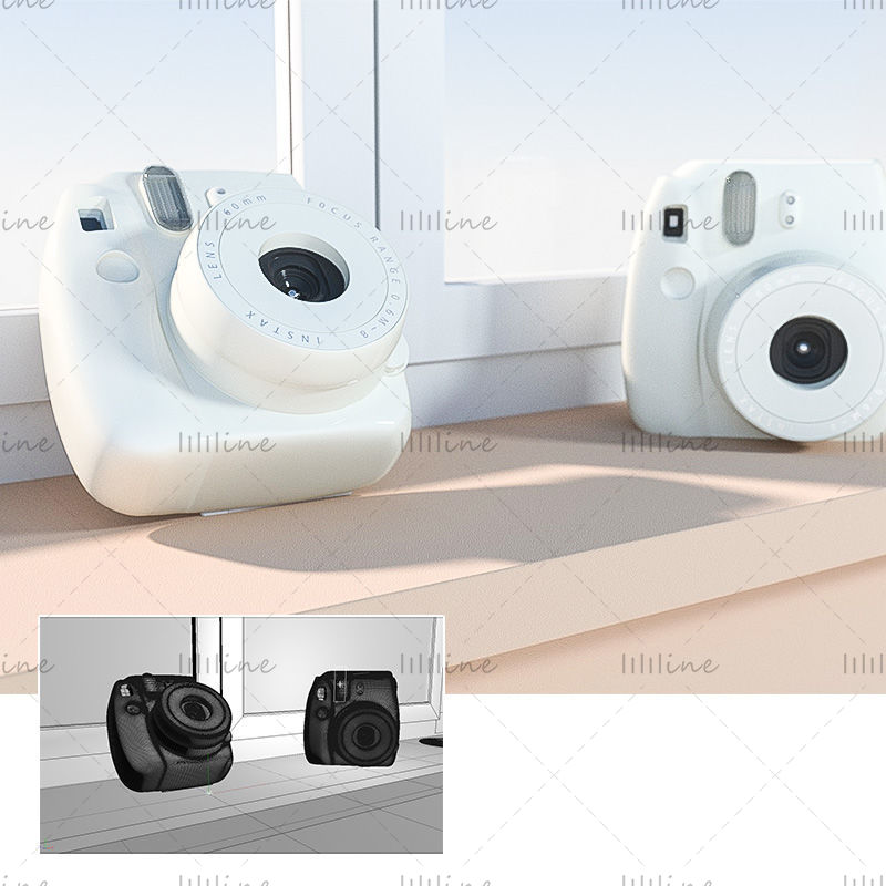 Cámara multiformato c4d Polaroid modelo 3d modelo de escena simple