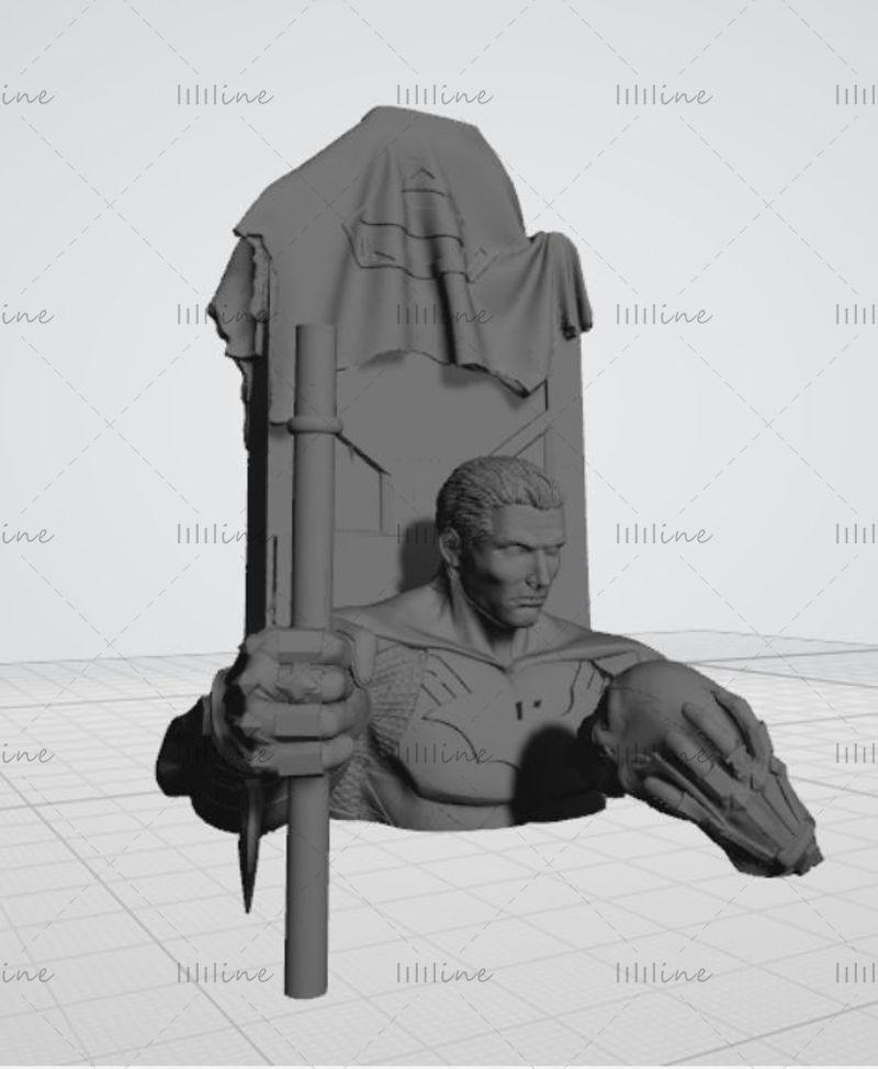 Modelo 3D de la estatua de Batman - Modelo de impresión 3D listo para imprimir
