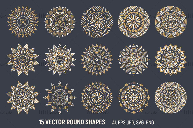 15 adornos de vector de mandala étnico