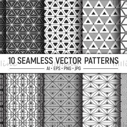 10 patrones de vector de triángulos geométricos sin fisuras