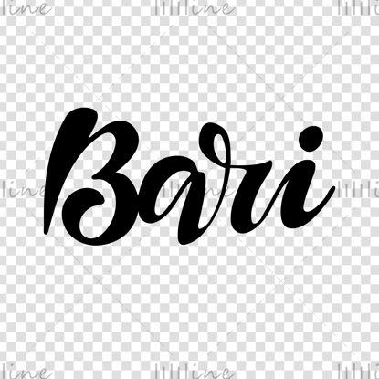 Bari, la rotulación digital a mano de la ciudad italiana