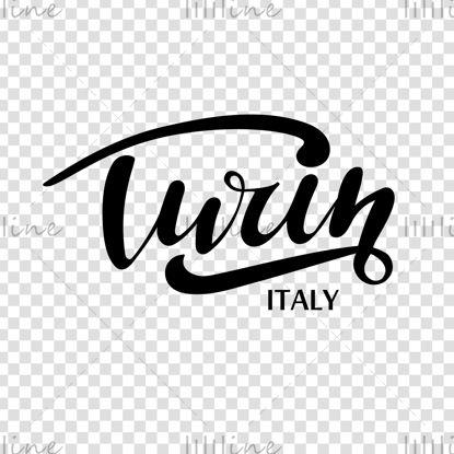 Rotulación digital a mano de la ciudad italiana de Turín