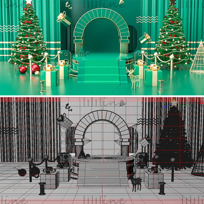 الأخضر عيد الميلاد كشك بسيط نموذج خلفية ثلاثية الأبعاد