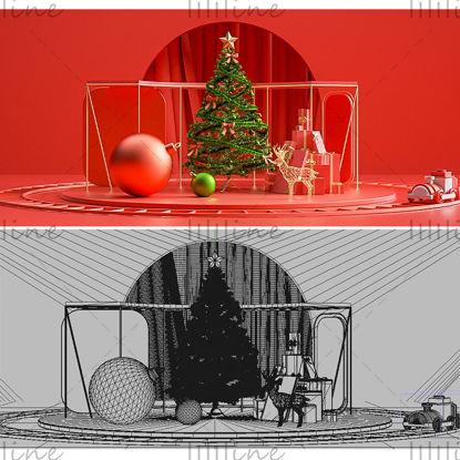 عيد الميلاد التجارة الإلكترونية راية شجرة عيد الميلاد نموذج كشك 3D