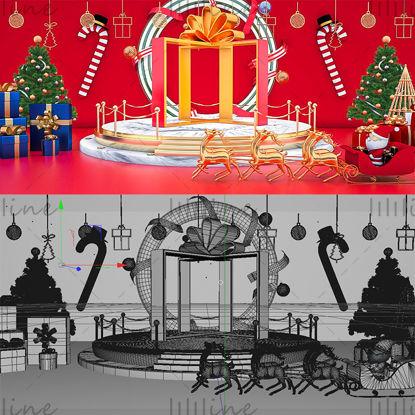 أشكال مختلفة شجرة عيد الميلاد سانتا كلوز نموذج خلفية ثلاثية الأبعاد