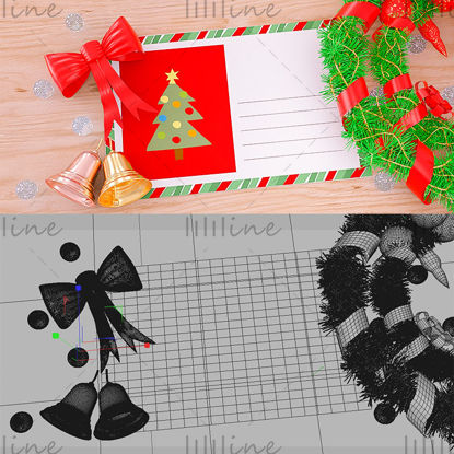 Varios formatos c4d tarjeta de felicitación navideña garland bell background modelo 3d