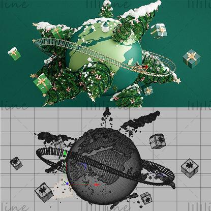 Varios formatos c4d navidad regalos de navidad árbol de navidad fondo de la tierra modelo 3d