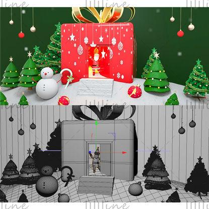 Varios formatos c4d fondo de casa de regalo de dibujos animados de navidad modelo 3d
