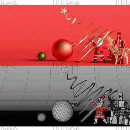 Varios formatos c4d navidad santa claus fondo creativo modelo 3d