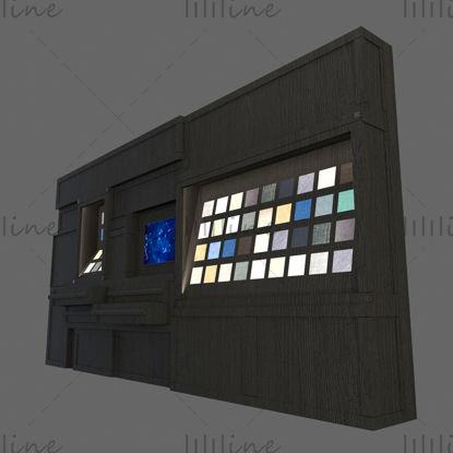 نموذج ثلاثي الأبعاد لخزانة عرض متعددة الوظائف على الحائط