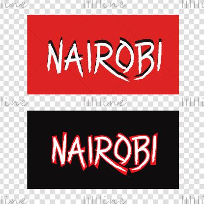 Nairobi kézi betűkkel digitális illusztráció