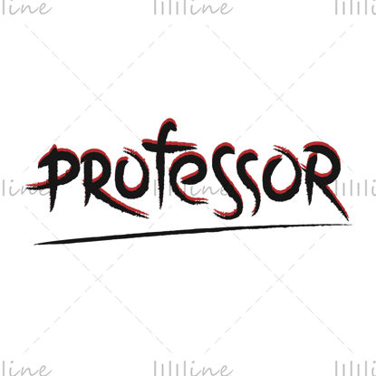 Professzor digitális kézi betűkkel vektoros illusztráció